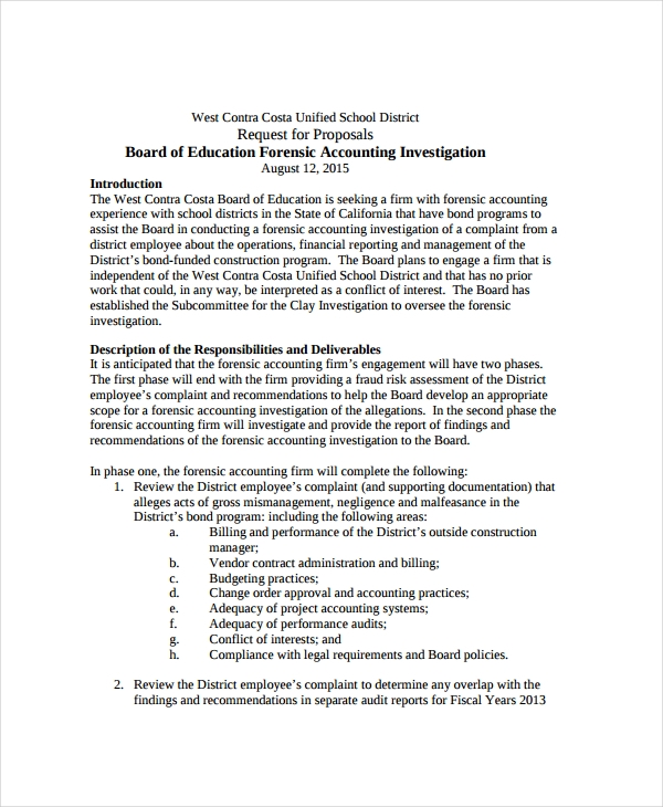forensic accounting request proposal