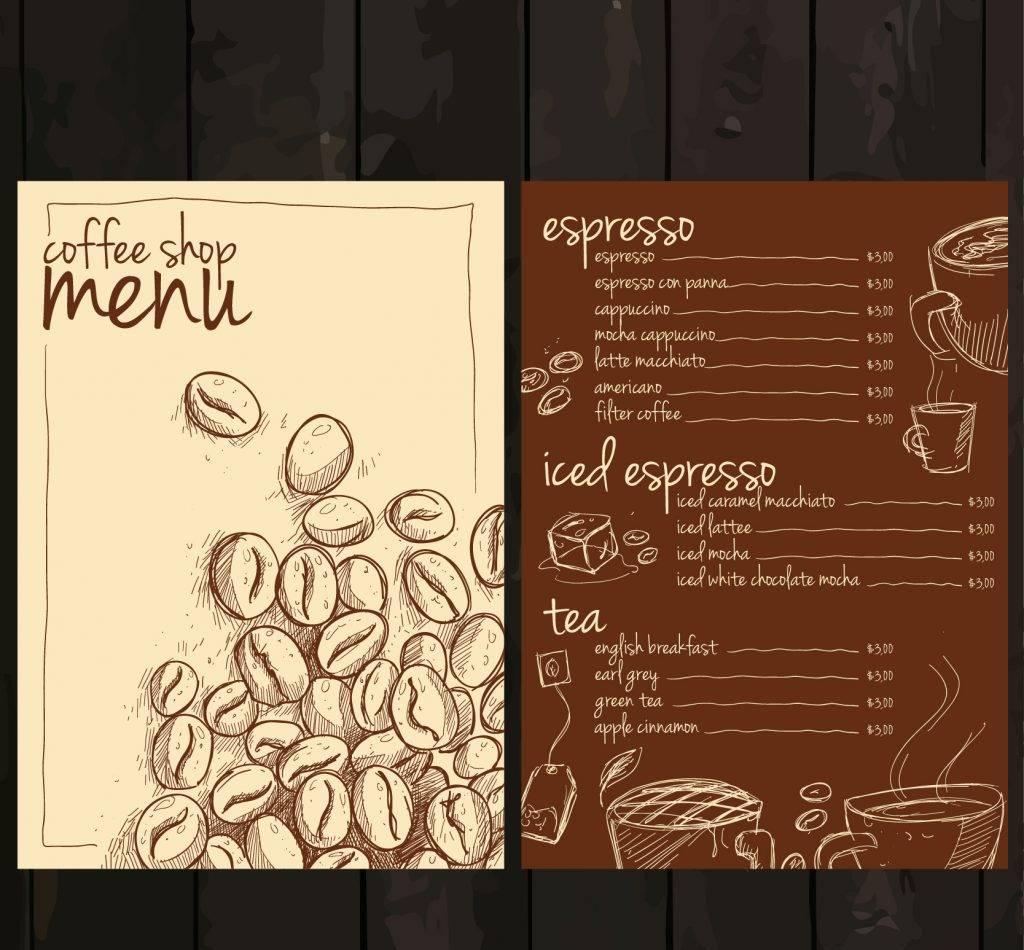 free coffe shop menu
