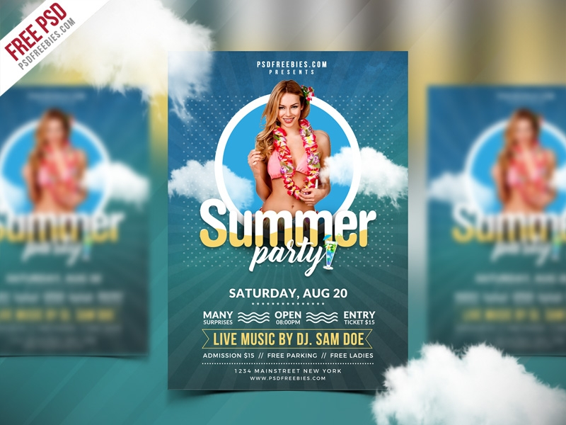 free psd summer party flyer