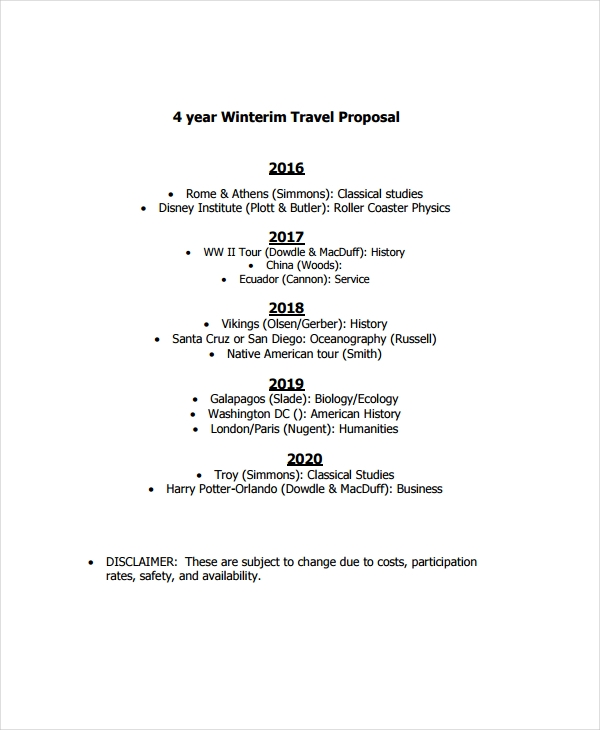 free travel proposal