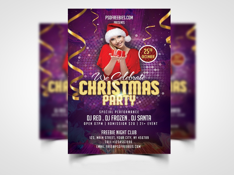 frozen christmas party flyer