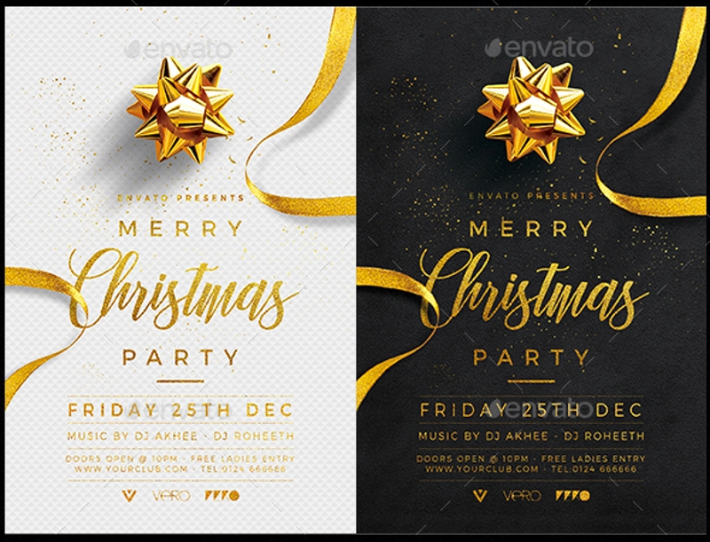 gold christmas party flyer