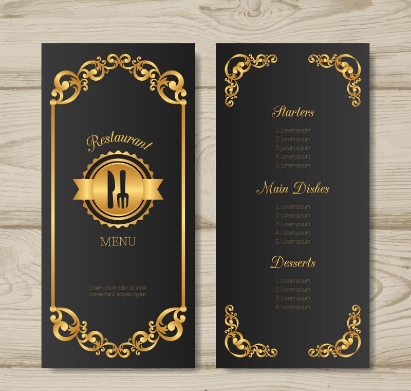golden frame art deco restaurant menu