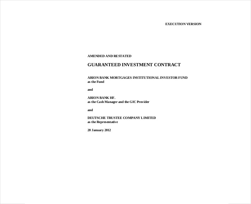 guaranteed investment contract
