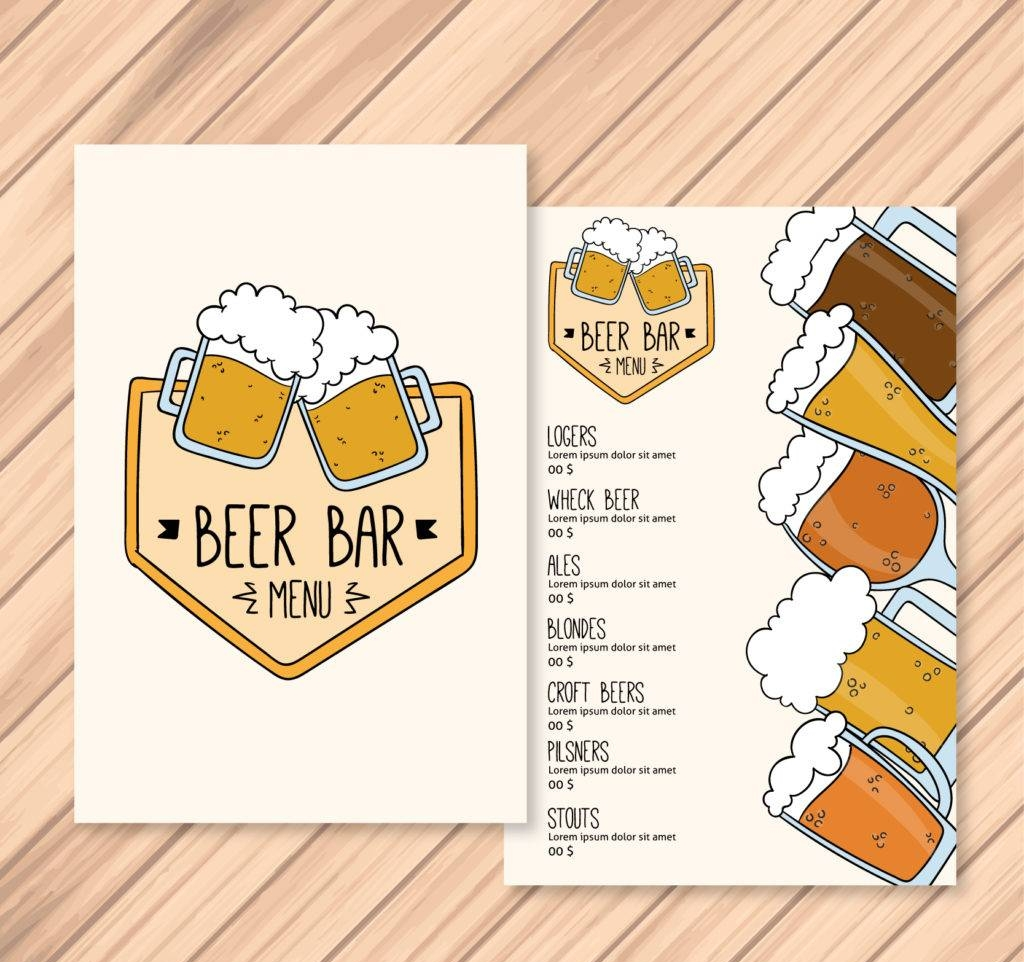 hand drawn beer menu