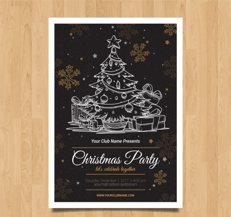 hand drawn christmas party flyer