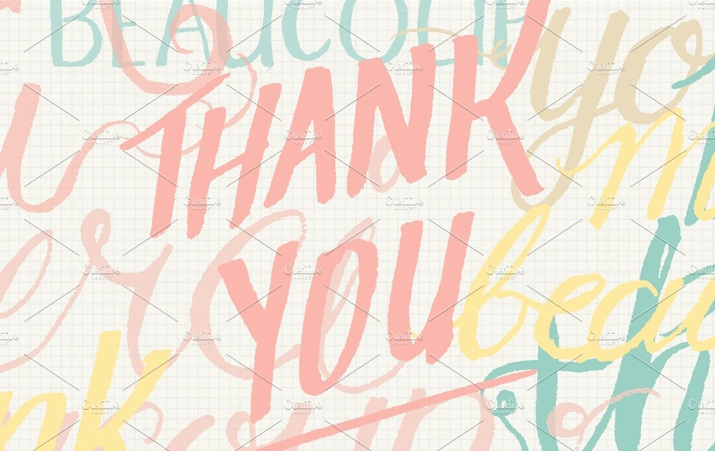 hand lettering thank you greeting card