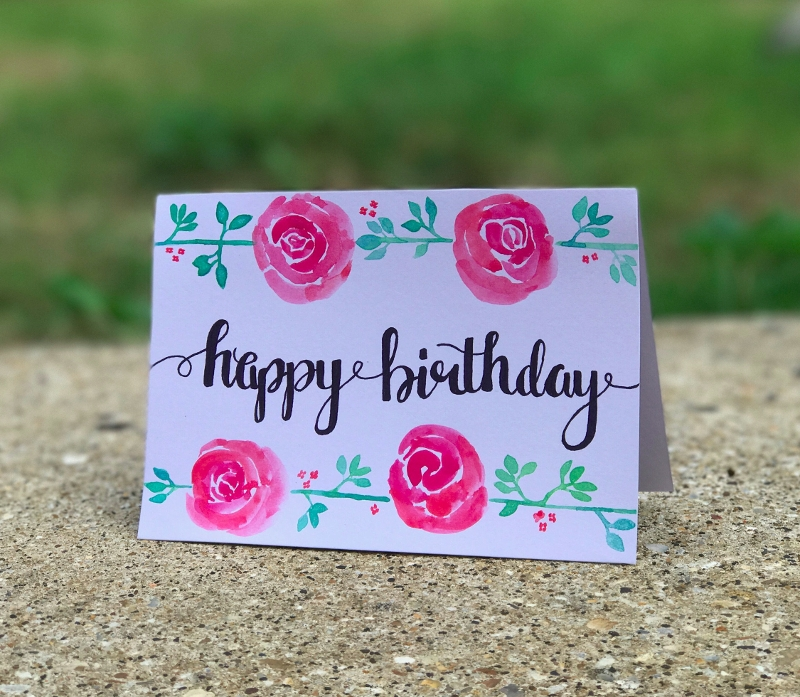 handpainted watercolor greeting card