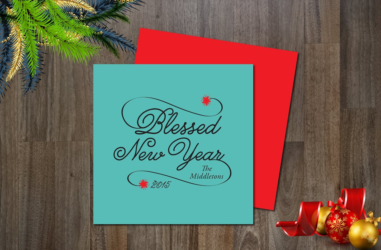 holiday new year greeting card