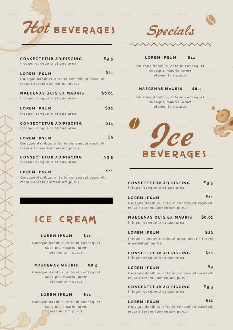 hot and iced coffee menu