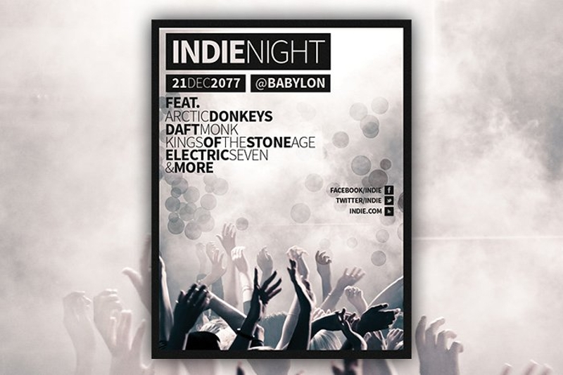 indie night concert event flyer