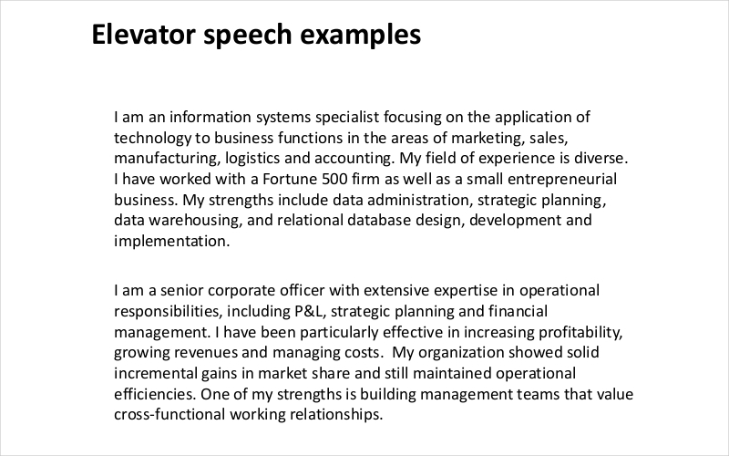 Business elevator pitch examples selowithjo business elevator pitch examples 13 elevator speech examples samples in pdf accmission Gallery