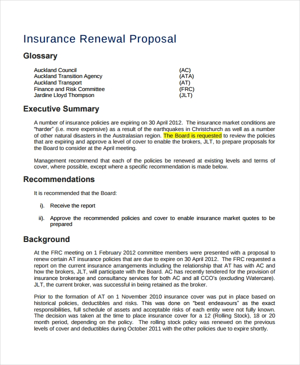 insurance renewal proposal