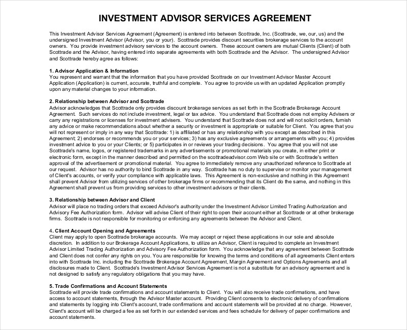 investment advisor services agreement