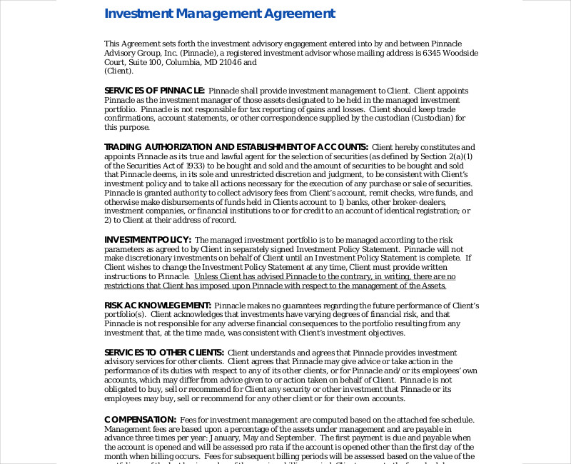 investment management advisor agreement
