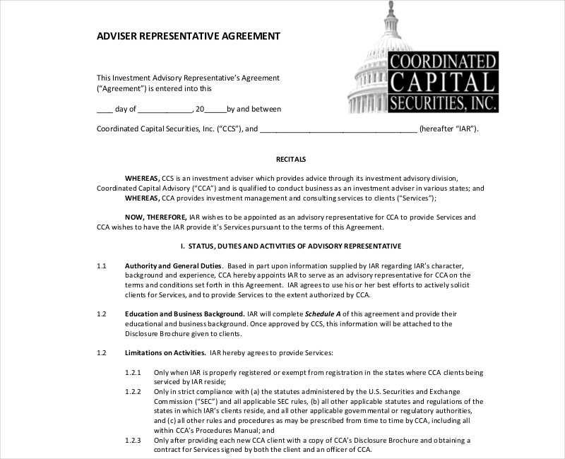investment representative advisor agreement
