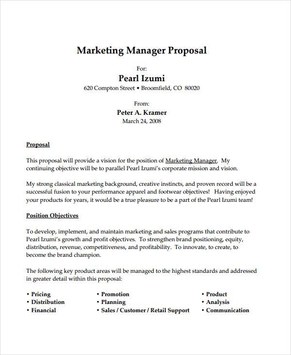 marketing job proposal