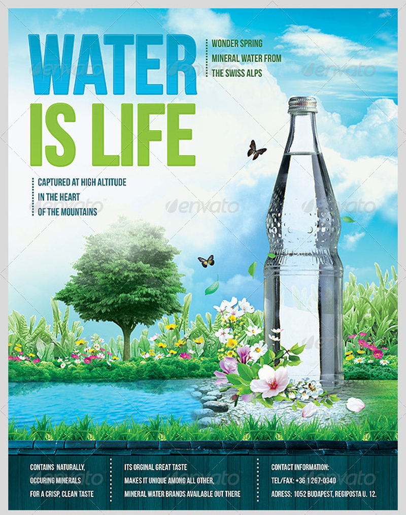 mineral water advertising flyer