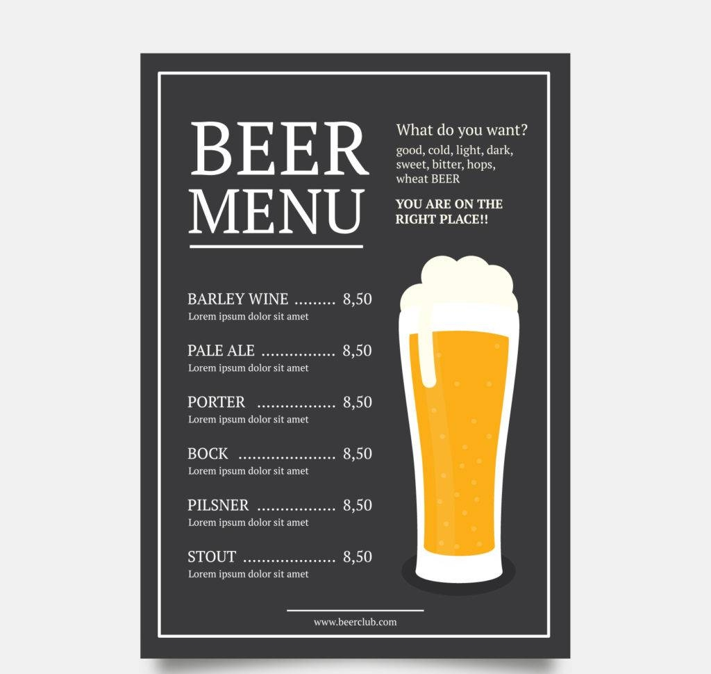 16 Beer Menu Designs Amp Examples Psd Ai Vector Eps