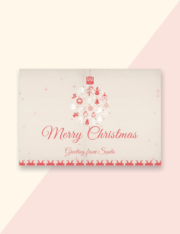 minimal christmas greeting card template
