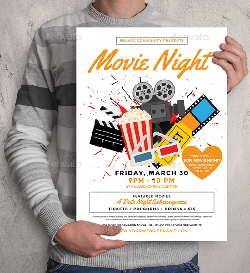 minimal movie night flyer