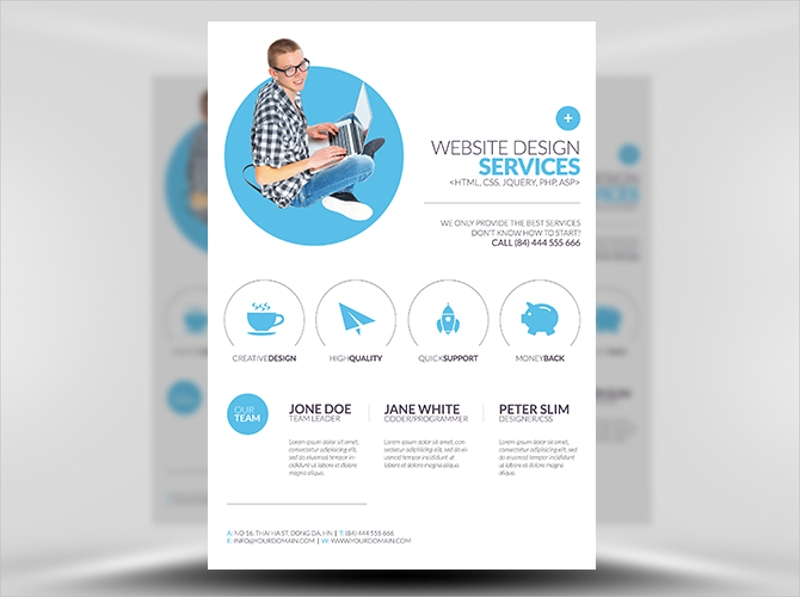 minimal web design flyer