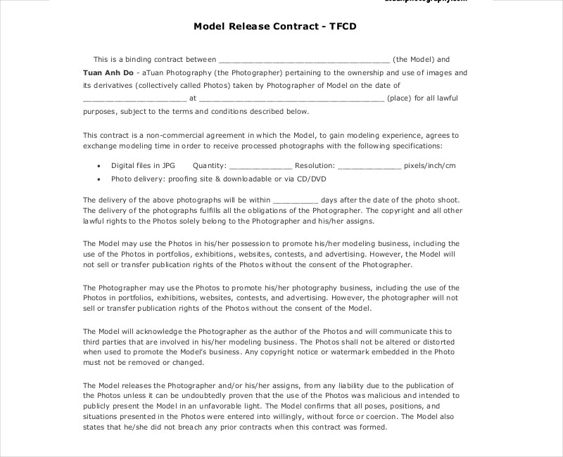 model release photography contract