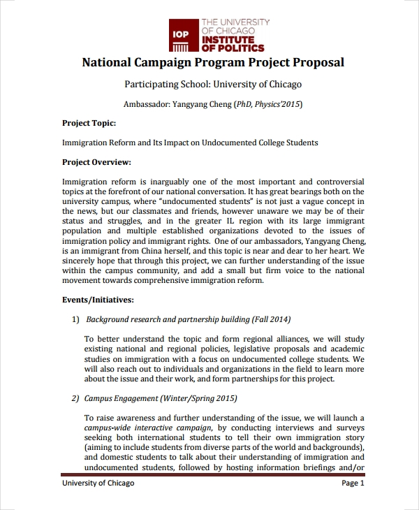 national campaign program project proposal