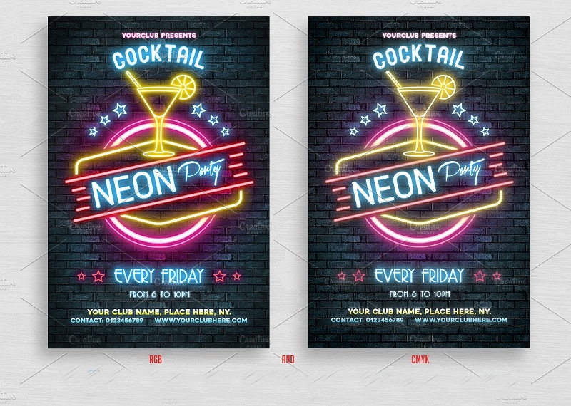 neon cocktail party flyer