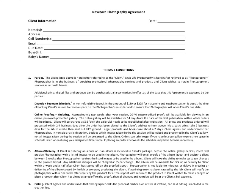 newborn photography contract template