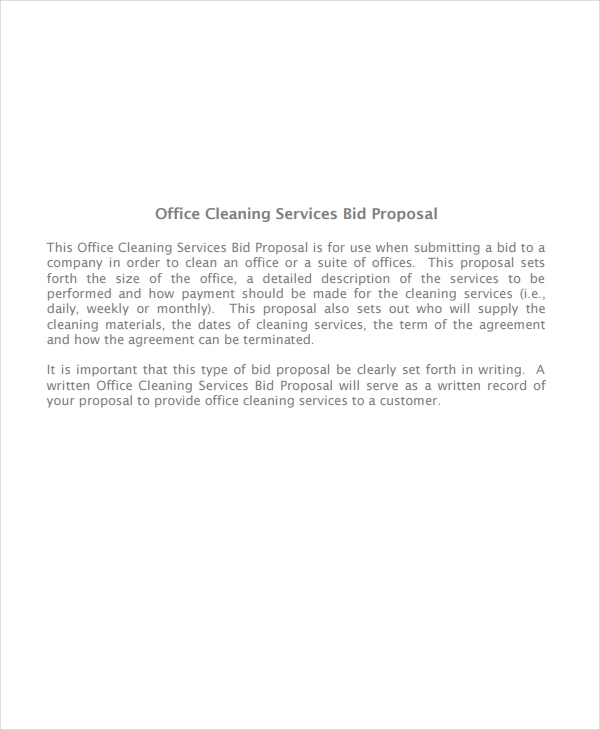 office cleaning services bid proposal