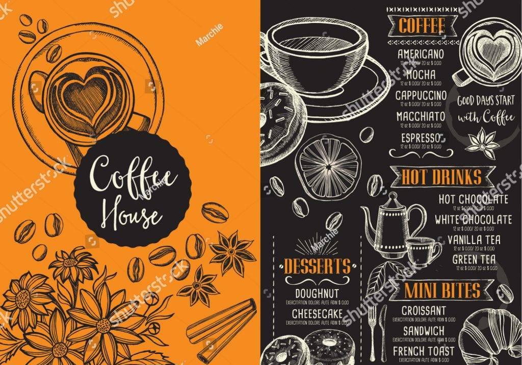 orange coffe menu design