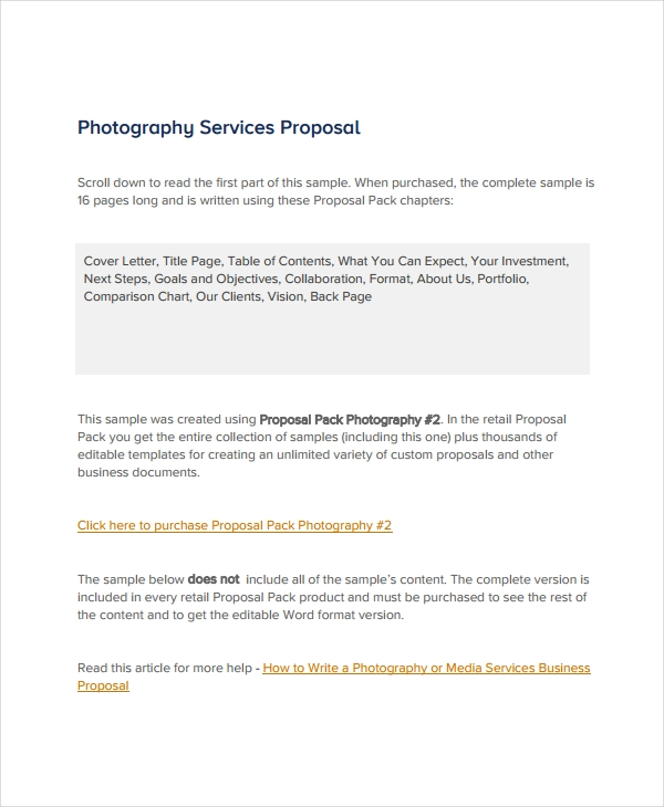 photography service proposal