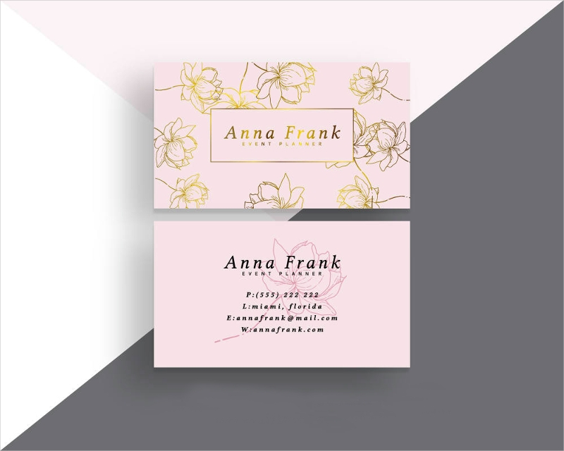pink and gold business card