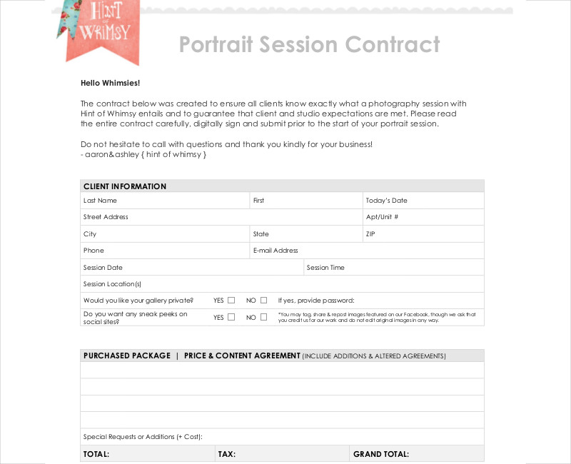 portrait photography session contract