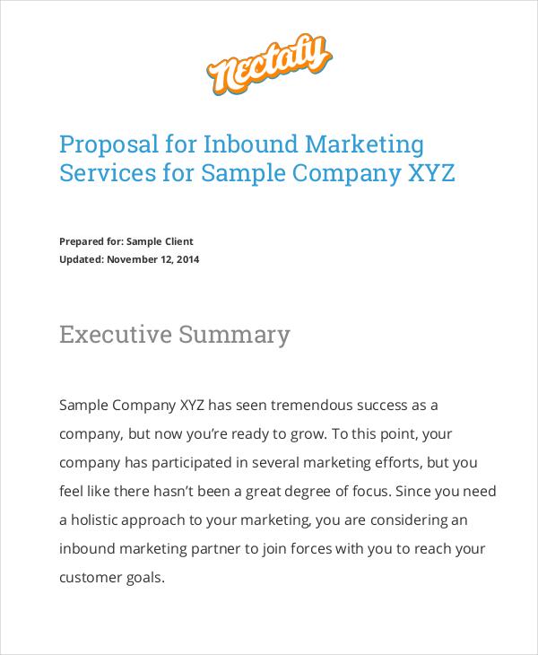 proposal for inbound marketing service