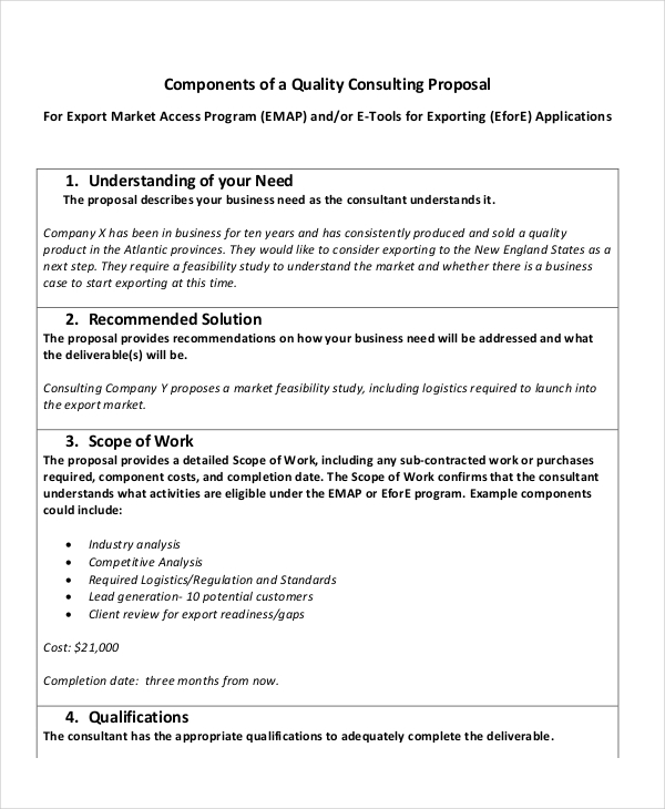 quality consulting proposal