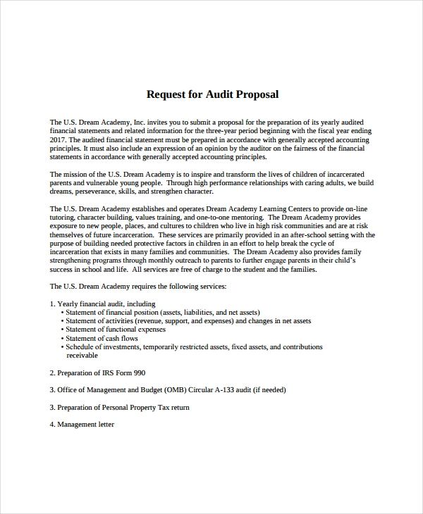 10  audit proposal examples