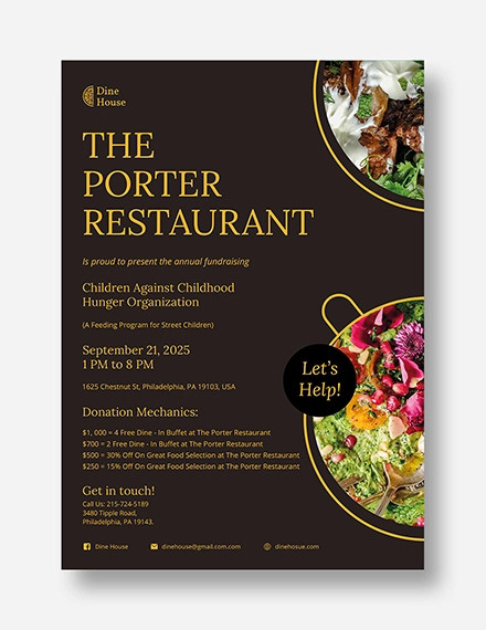 restaurant fundraising flyer template