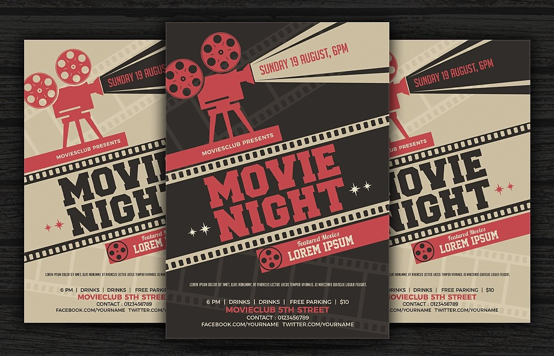 Retro Movie Night Flyer Template