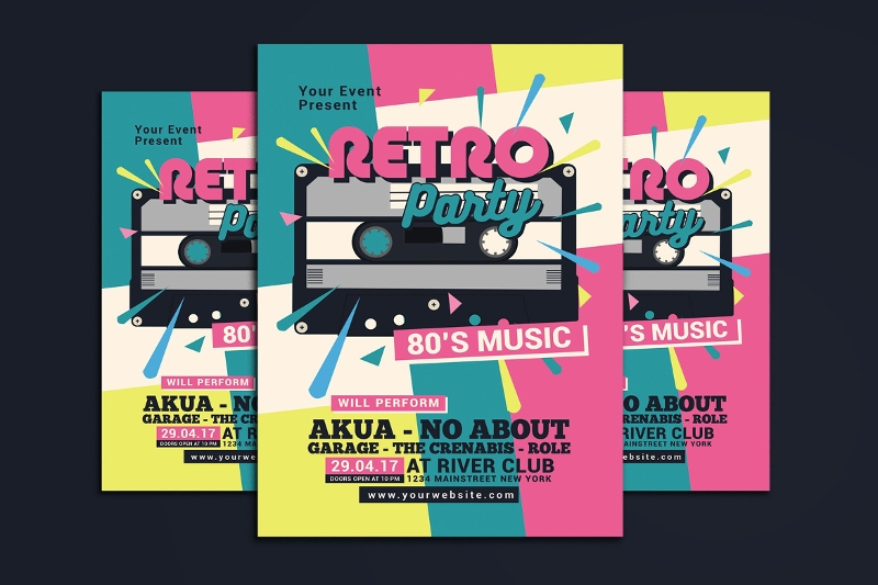 retro music party flyer