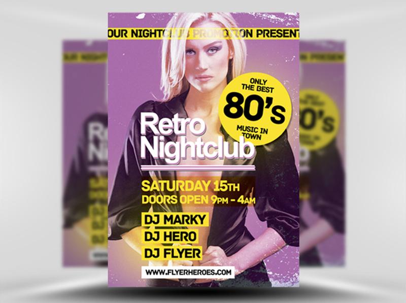 retro night club flyer