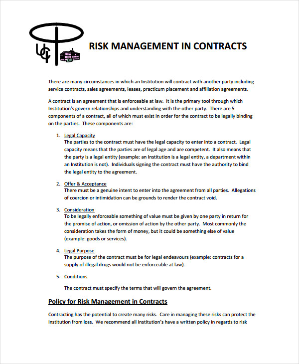 risk management contract