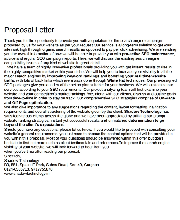 seo proposal letter