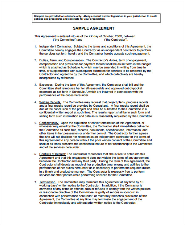 sample agreement template