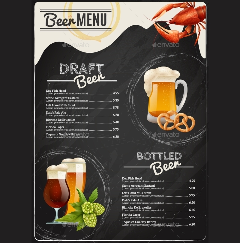 sample chalkboard beer menu