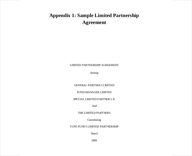 sample limited partnership agreement