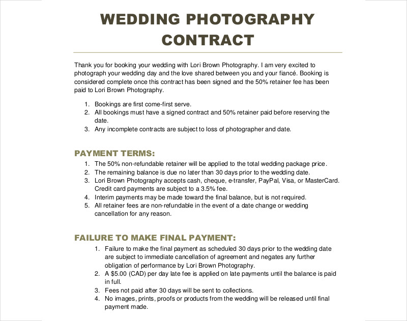 Wedding Photography Contracts Examples: 12+ Photography Contract Examples & Samples