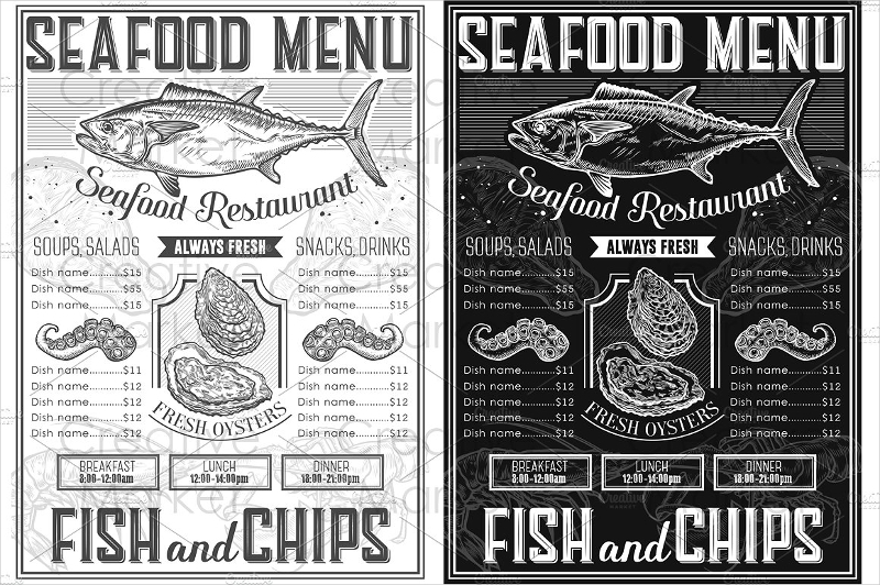 seafood retro menu templates