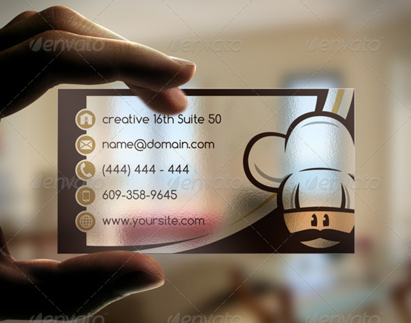 semi transparent bakery business card